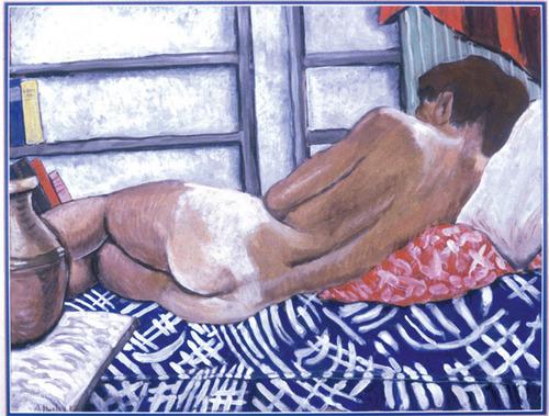 Maria Nys Huxley fait la sieste. Le peintre se nomme Aldous Huxley.