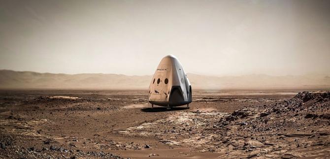 """Vue d'artiste de la capsule """"Red Dragon"""" de SpaceX posée sur Mars"""